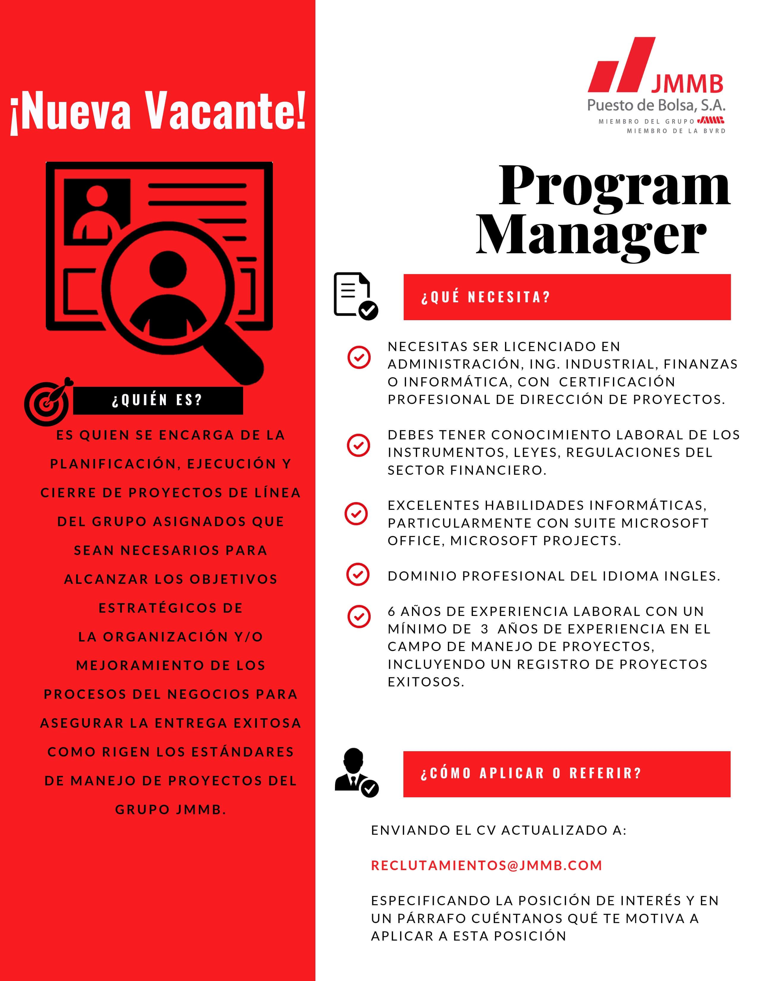 Descripción de puesto Program Manager Puesto de Bolsa
